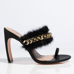 Black Feathered Mule with Gold Chain Detail